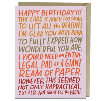 Em + Friends - EMM Ream of Paper Birthday Card