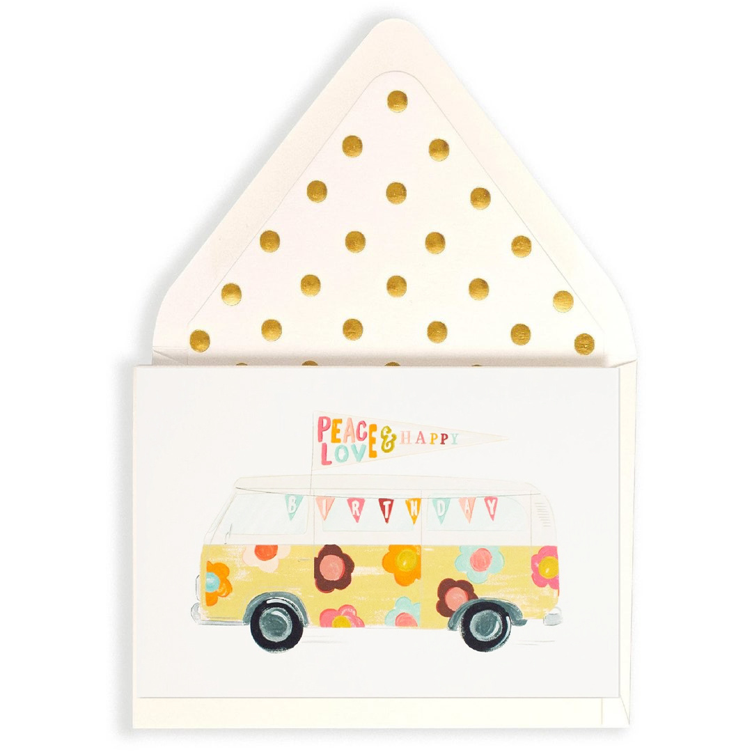 The First Snow - FIS VW Flower Bus Happy Birthday Card