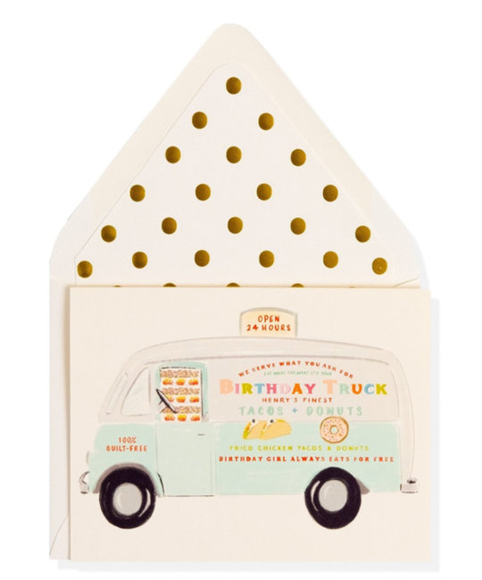 The First Snow - FIS Happy Birthday Doughnut and Taco Truck Card