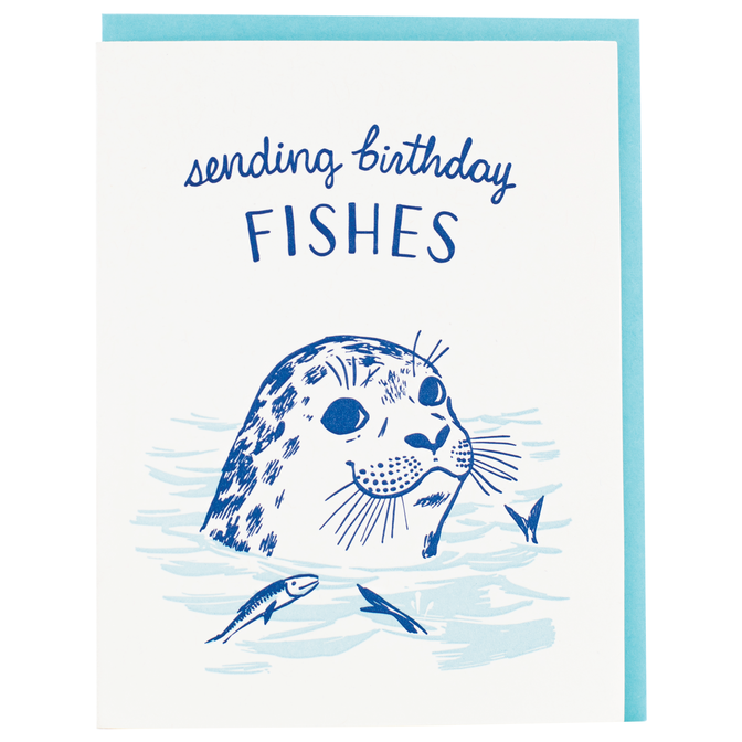 Smudge Ink - SI Seal Birthday Fishes Card