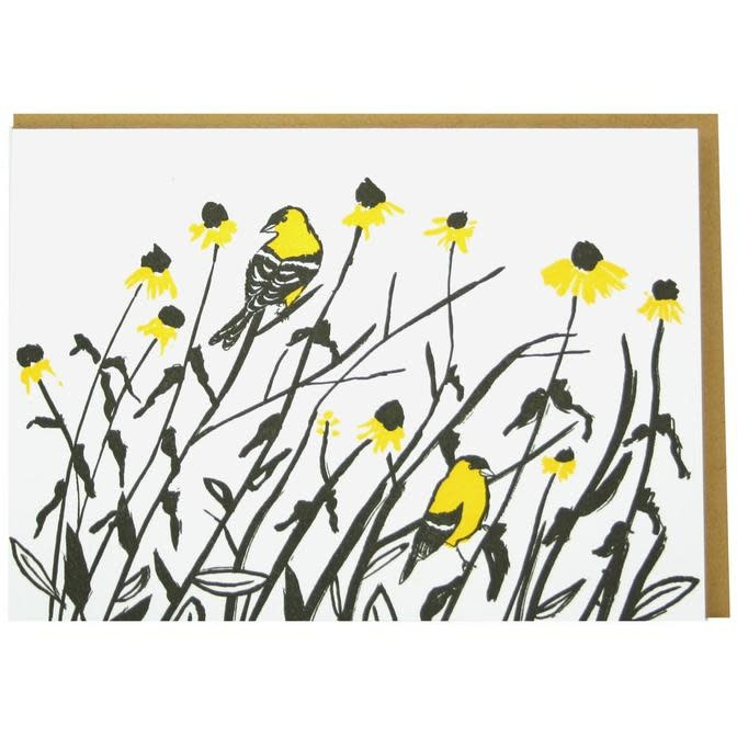 Smudge Ink - SI Goldfinches Blank Card