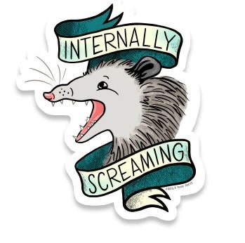 Frog & Toad FT ST - Internally Screaming Opossum Sticker