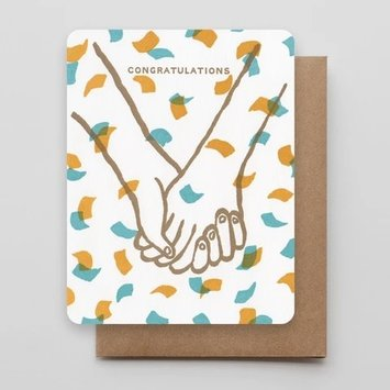 Hammerpress - HA Hand in Hand Confetti Congratulations Card