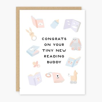 Party of One - POO Tiny New Reading Buddy New Baby Card