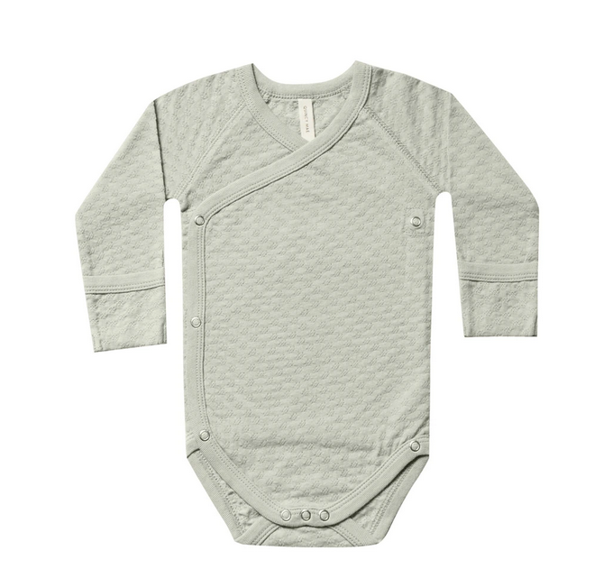 Quincy Mae - QM Quincy Mae Pointelle Kimono Onesie in Sage
