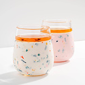 W&P Design - WP Terrazzo Blush Porter Glass Tumbler, 15oz