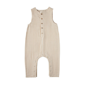 Rylee + Cru - RC Rylee + Cru Striped Button Jumpsuit in Almond