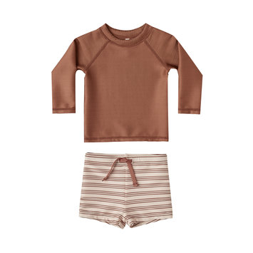 Rylee + Cru - RC Rylee + Cru Amber and  Shell Striped Rashguard Two-Piece Swimsuit Set
