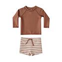 Rylee + Cru - RC Rylee + Cru Amber and  Shell Striped Rashguard Two-Piece Swimsuit Set
