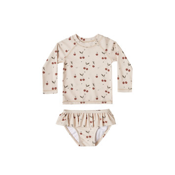 Rylee + Cru - RC Rylee + Cru Cherries Rashguard Two-Piece Swimsuit Set