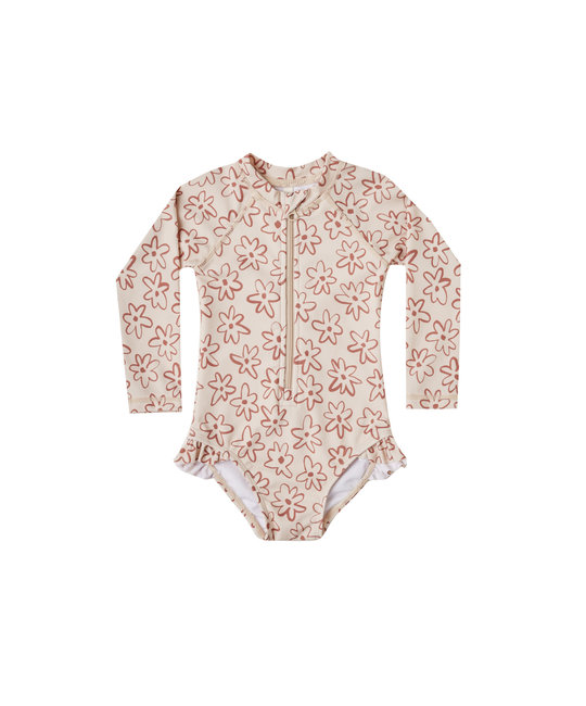Rylee + Cru - RC Rylee + Cru Flower Outline Rashguard Onepiece Swimsuit
