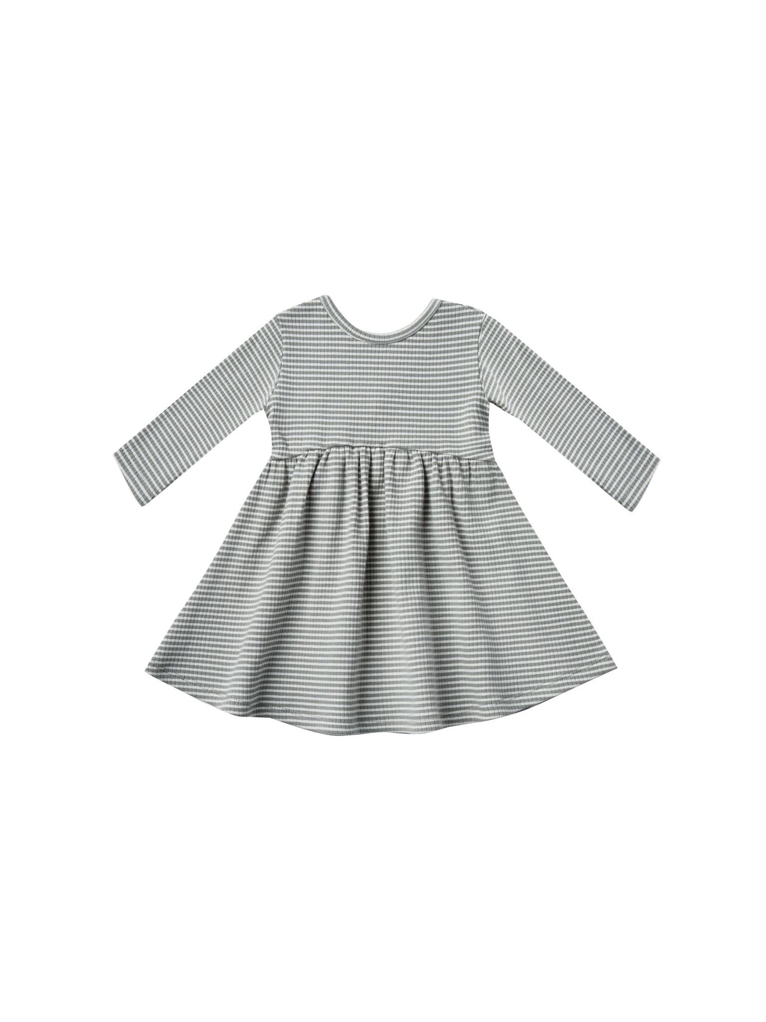 Quincy Mae - QM QM BA - Ribbed Longsleeve Dress in Eucalyptus Stripe