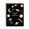 Party of One - POO Welcome Tiny Earthling New Baby Card
