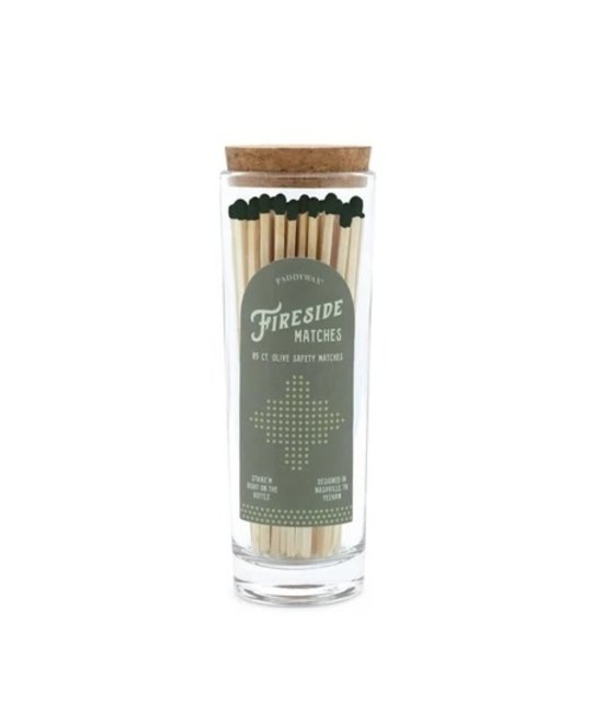 Paddywax - PA Extra Long Matches with Olive Green Tip in Glass Container