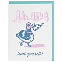 Smudge Ink - SI Pizza Pigeon Birthday Treat Yourself Birthday Card
