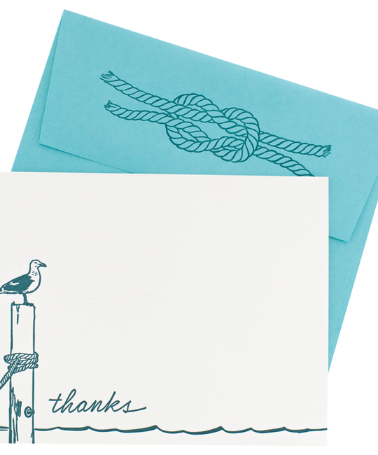 Smudge Ink - SI Seagull Thank You Note Set with Letterpress, Printed Envelope