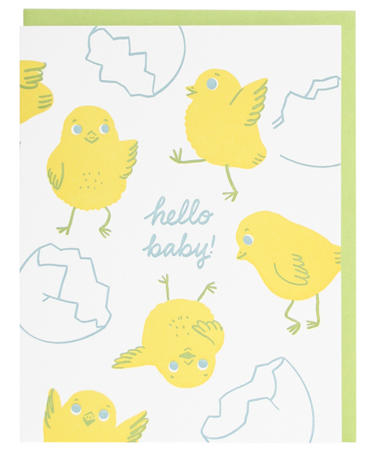 Smudge Ink - SI Chick Hello Baby Card