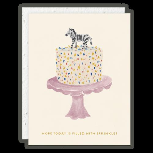 Seedlings - SED Zebra Cake Birthday Card
