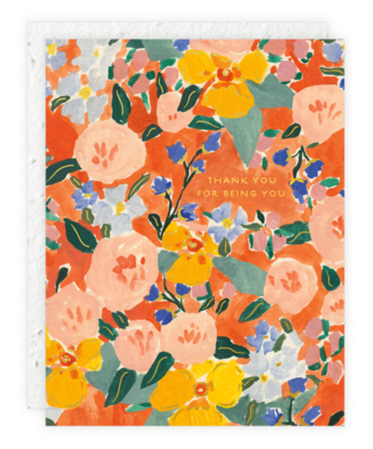 Seedlings - SED Red Orange Floral (Thank You for Being You) Card