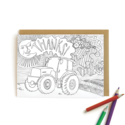Wild Ink Press - WI Tractor Thanks, colored pencils Card