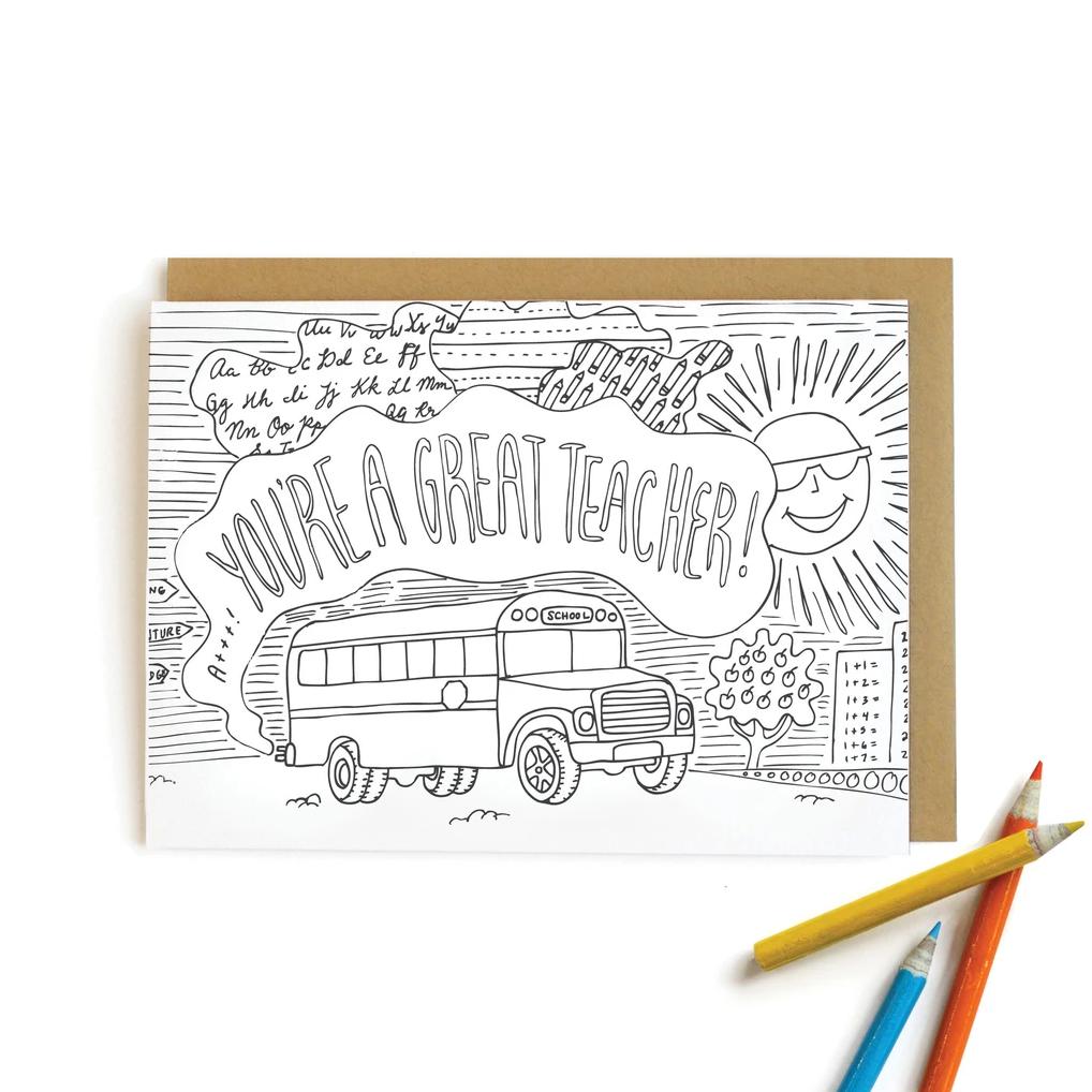 Wild Ink Press - WI School Bus Teacher, colored pencil Card