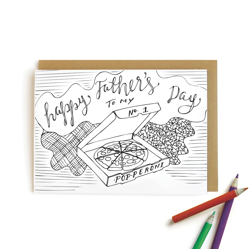 Wild Ink Press - WI Pizza Father's Day Kids Coloring Card