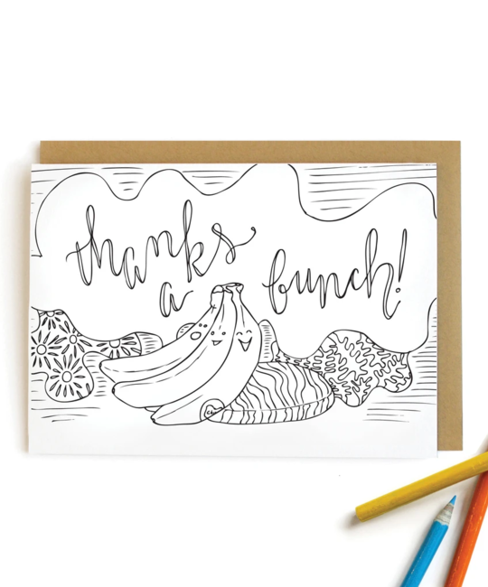 Wild Ink Press - WI Banana Thanks Kids Coloring Card