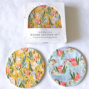 Seedlings - SED Pink and Blue on Gold Coasters, Set of 6