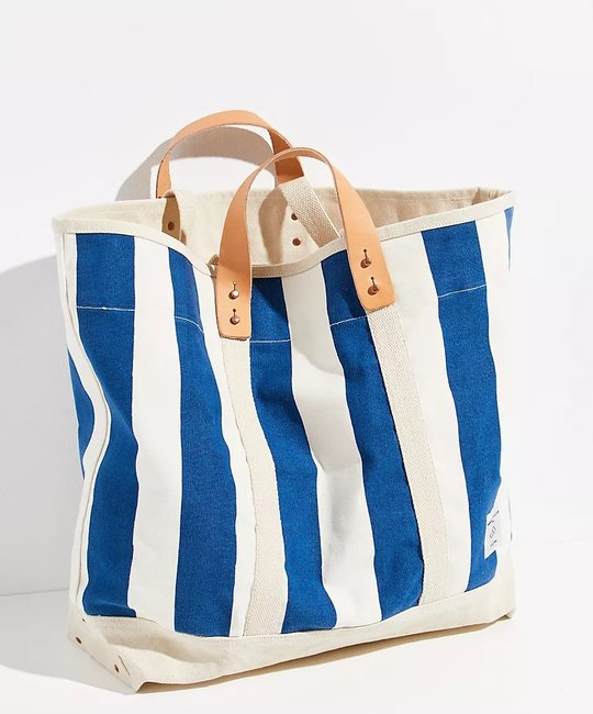 IMMODEST COTTON x Fleabags Large East West Tote,  Blue & White Stripe
