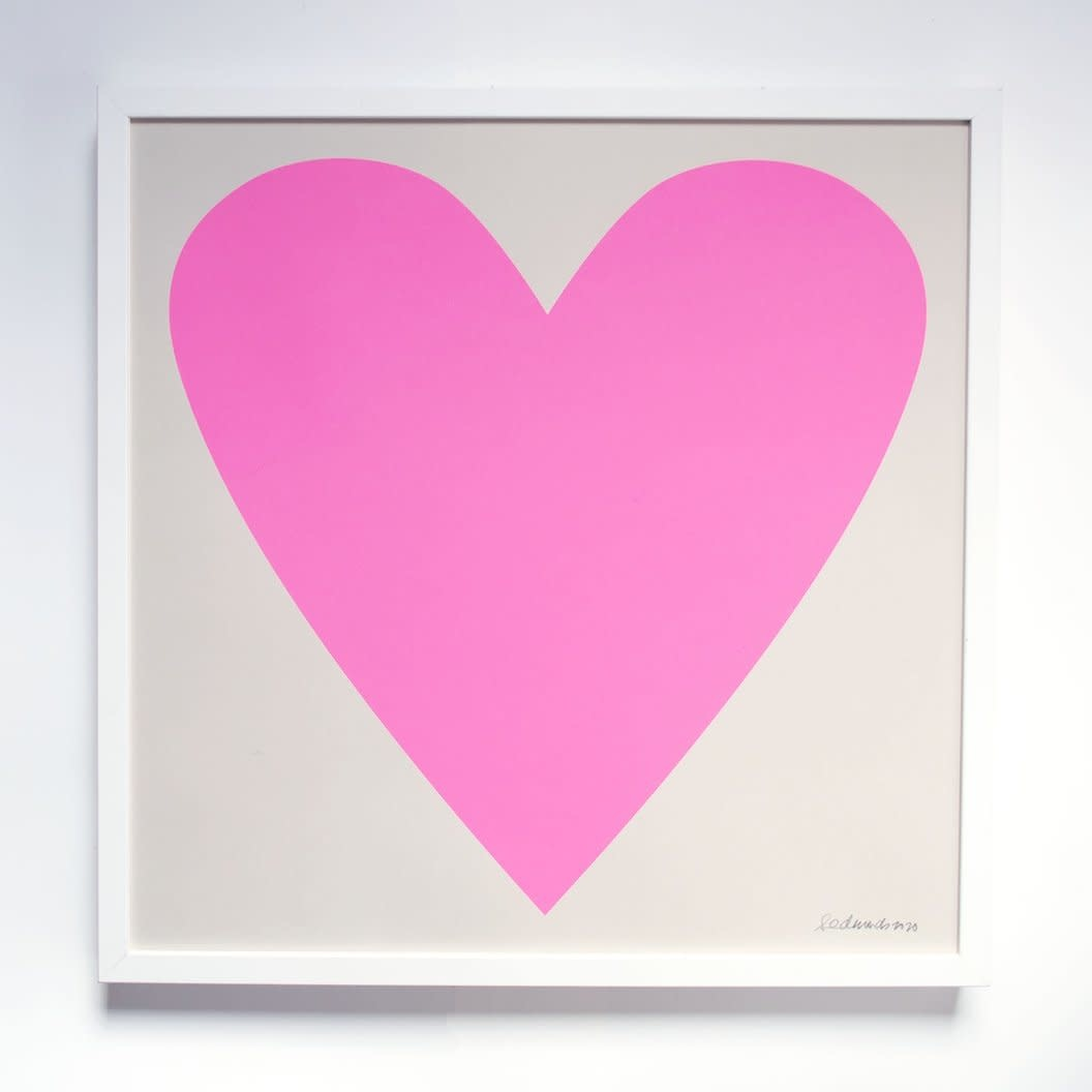 Banquet Atelier and Workshop - BAW Cool Neon Pink Heart Print, 50 x 50 cm