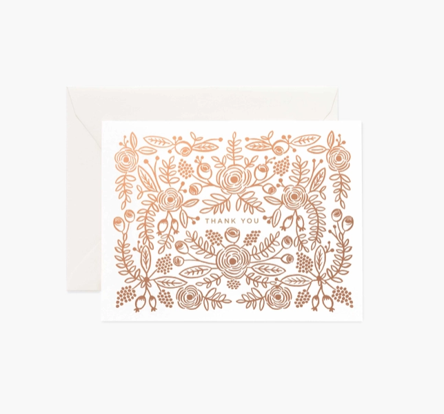 Rifle Paper Co - RP Rifle Rose Gold Thank You, Set of 8