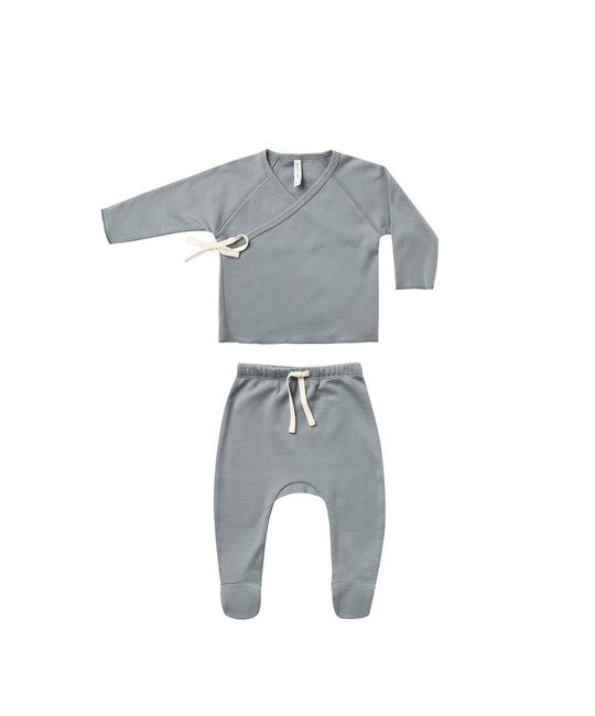 Quincy Mae - QM Quincy Mae Ocean Wrap Top + Footed Pant Set