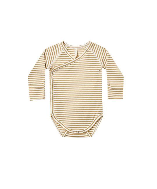 Quincy Mae - QM Quincy Mae Gold Stripe Side-Snap Bodysuit Onesie