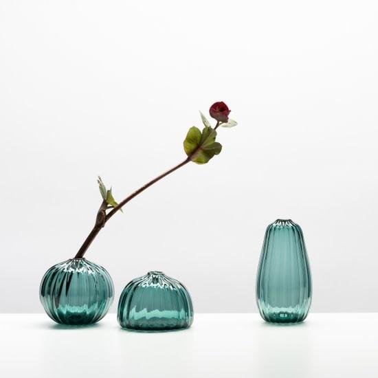 Little Tomato Glass - LTG Round Buddies Vase, Steel Blue