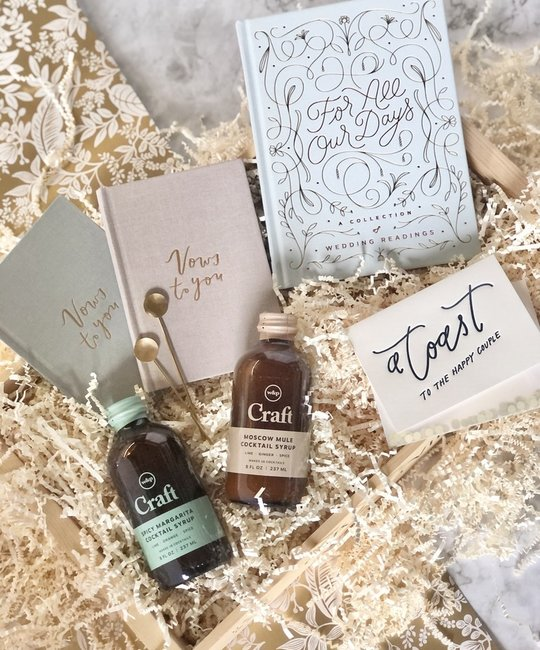 """Gus and Ruby Letterpress - GR """"Cheers to the Happy Couple!"""" Wedding Custom Gift Box"""