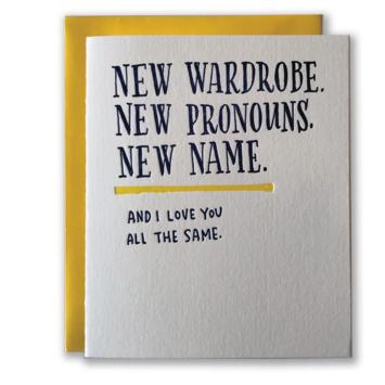 Ladyfingers Letterpress - LF New Pronouns Congratulations Card