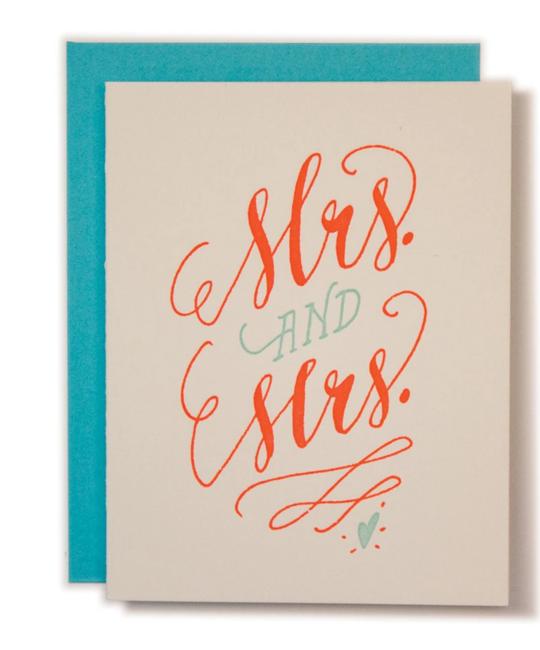 Ladyfingers Letterpress - LF Mrs and Mrs Wedding Card