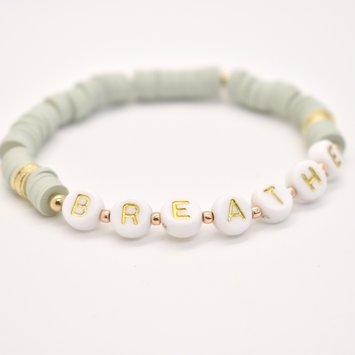Hip Hope Hoorah BREATHE Bracelet in sage green