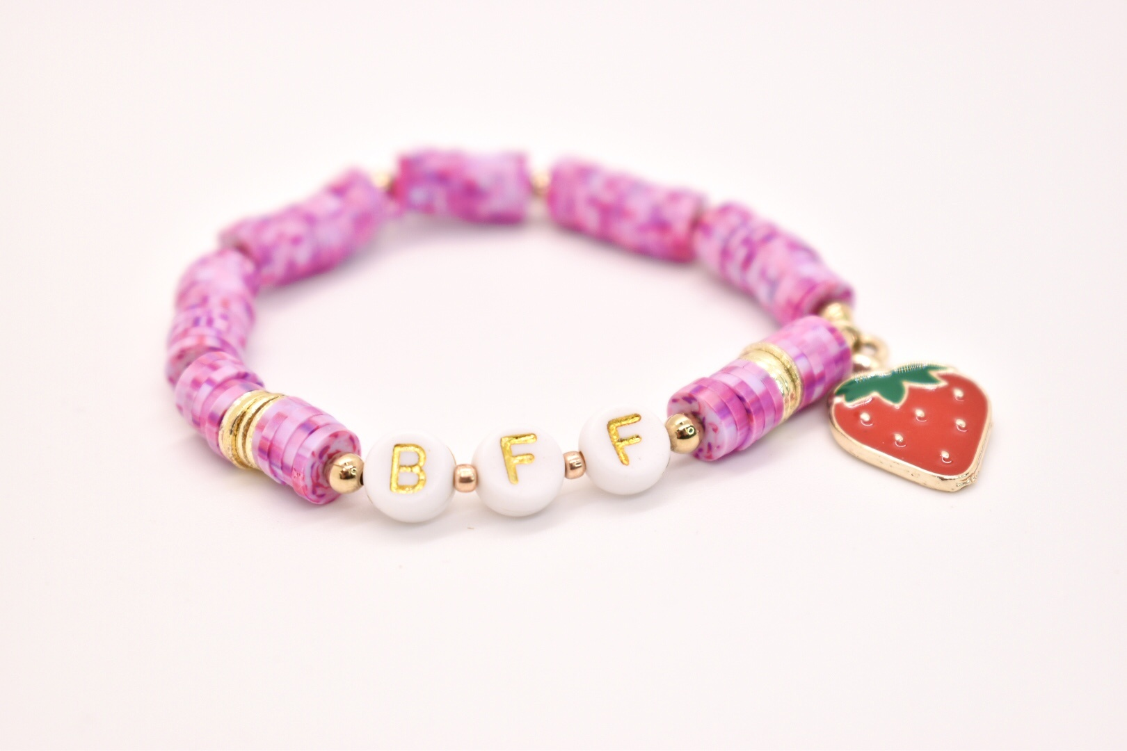 Hip Hope Hoorah - HHH BFF Kid's Bracelet with strawberry charm in speckled pink
