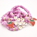 Hip Hope Hoorah BFF Kid's Bracelet with strawberry charm in speckled pink