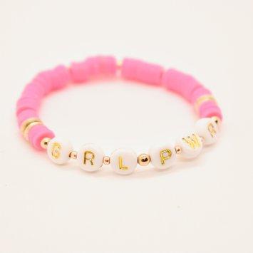Hip Hope Hoorah GRL PWR Kid's Bracelet in hot pink