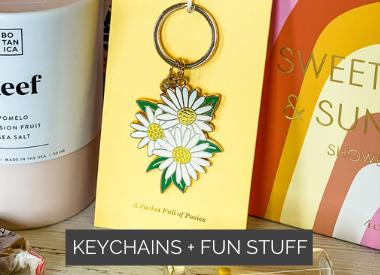Enamel Pins + Keychains + Fun Stuff