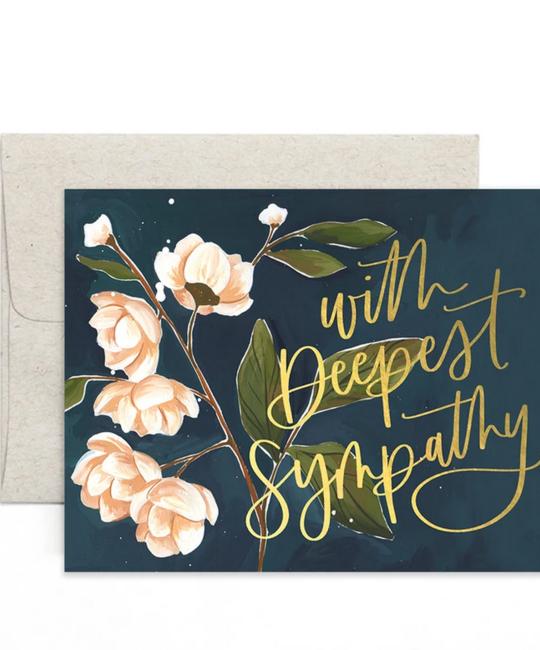 One Canoe Two Letterpress - OC Deepest Sympathy Navy Card