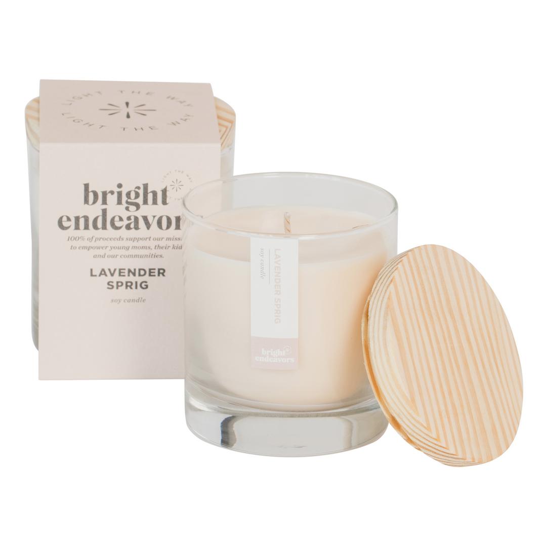 Bright Endeavors Lavender Sprig Glass Candle