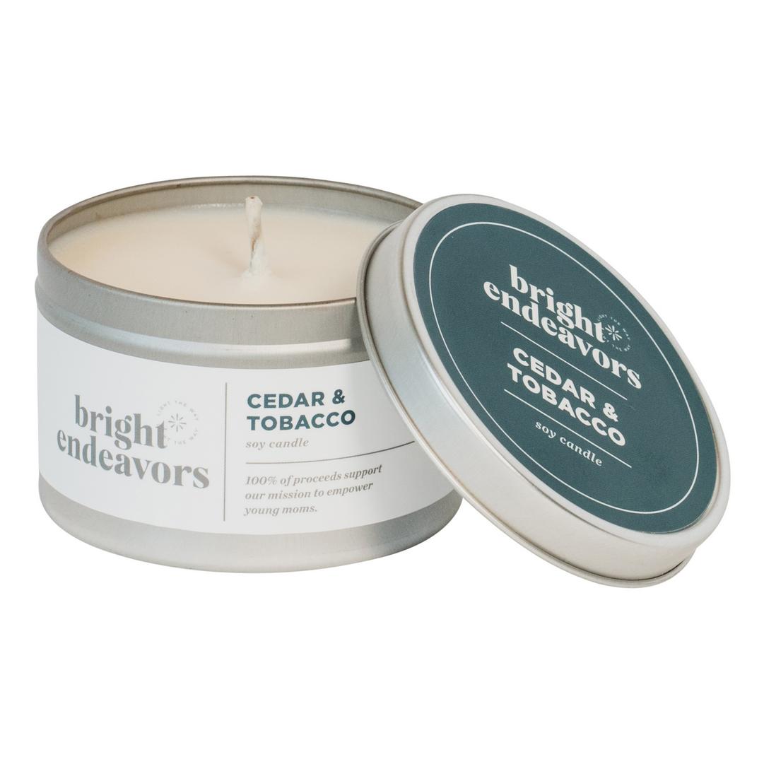 Bright Endeavors Cedar & Tobacco 8oz Tin Candle
