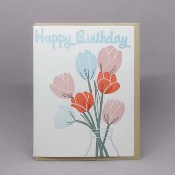 Big Wheel Press - BWP Tulip Birthday Letterpress Card