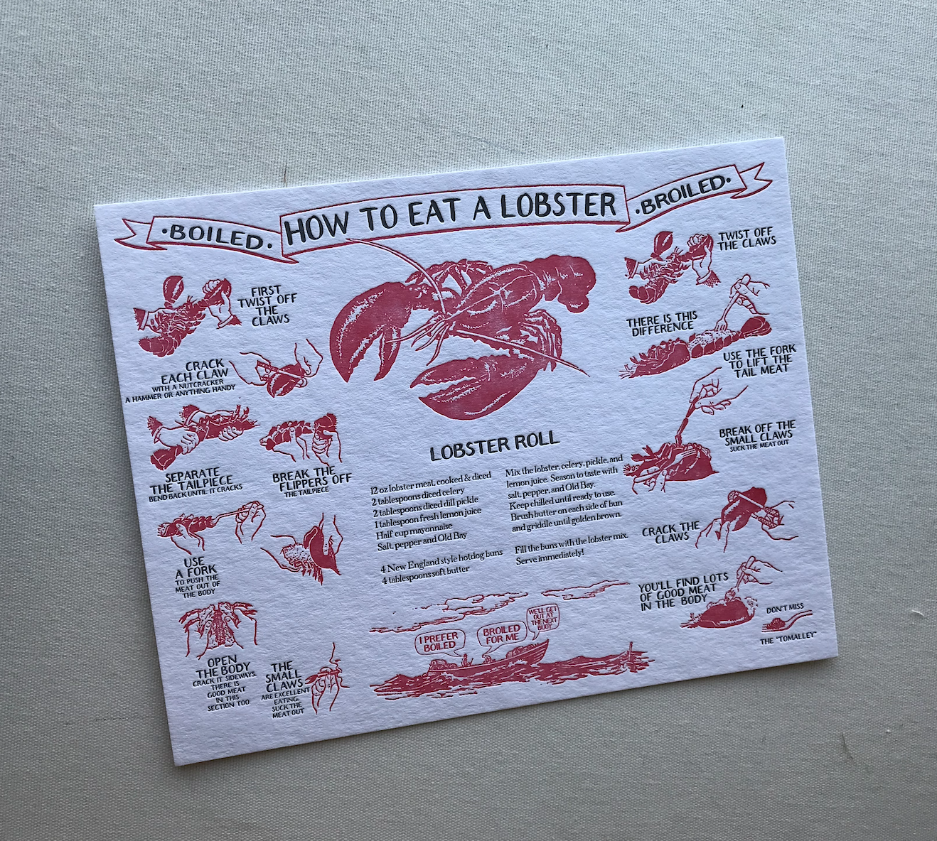 """Big Wheel Press - BWP How To Eat a Boiled Lobster Print, 8"""" x 10"""""""