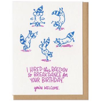 Frog & Toad Press Breakdance Birthday Raccoon Card