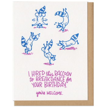 Frog & Toad Press - FT Breakdance Birthday Raccoon Card