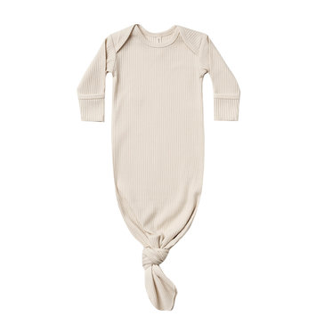 Quincy Mae - QM QM BA - Natural Ribbed Knotted Baby Gown